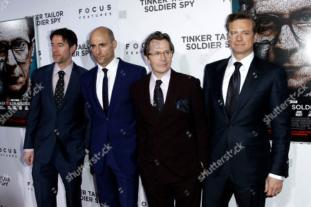 """Peter Straughan, Gary Oldman, Colin Firth, Mark Strong From left, screenwriter Peter Straughan, cast members Mark Strong, Gary Oldman, and Colin Firth pose together at the premiere of """"Tinker, Tailor, Soldier, Spy"""" in Los Angeles, . """"Tinker, Tailor, Soldier, Spy"""" opens in theaters Dec. 9, 2011"""