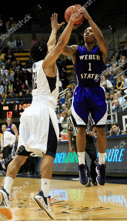 Damian Lillard, Jorge Gutierrez Weber State's Damian Lillard (1) shoots over California's Brandon Smith (12) during the first half of an NCAA college basketball game in Berkeley, Calif