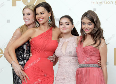 "Julie Bowen, Sofia Vegara, Ariel Winter, Sarah Hyland Modern Family"" cast members from left, Julie Bowen, Sofia Vegara, Ariel Winter and Sarah Hyland pose backstage at the 63rd Primetime Emmy Awards on in Los Angeles. ""Modern Family"" won best comedy series"