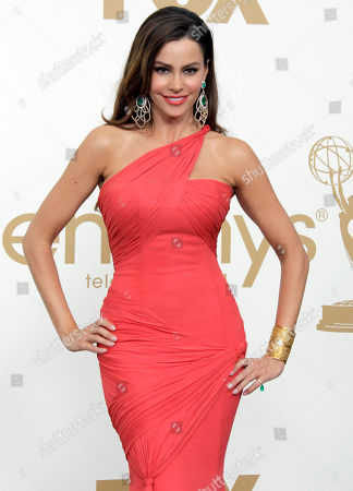"Sofia Vegara Modern Family"" cast member Sofia Vegara poses backstage at the 63rd Primetime Emmy Awards on in Los Angeles. ""Modern Family"" won best comedy series"