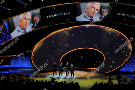 The Canadian Tenors perform during the in memoriam segment at the 63rd Primetime Emmy Awards on in Los Angeles