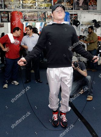 Saul Alvarez WBC super welterweight champion Saul Alvarez, of Mexico, jumps rope during a workout for media in Los Angeles, . Alvarez is scheduled to meet Alfonso Gomez in a boxing match Sept. 17 in Los Angeles