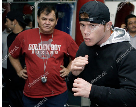 Saul Alvarez WBC super welterweight champion Saul Alvarez, of Mexico, right, shadow boxes as trainer Jose Reynoso looks on during a workout for media in Los Angeles, . Alvarez is scheduled to meet Alfonso Gomez in a boxing match Sept. 17 in Los Angeles