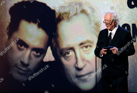 Stock Photo of Robert Downey Sr Actor and filmmaker Robert Downey Sr. addresses the audience during the 25th American Cinematheque Award benefit gala honoring his son, actor Robert Downey Jr., in Beverly Hills, Calif