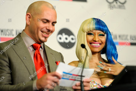 Nicky Minaj, Pitbull Rapper Pitbull, left, and performer Nicky Minaj announce nominations for the 2011 American Music Awards, in Los Angeles. The awards will be held in Los Angeles on Nov. 20