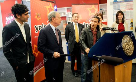 Jeremy Stoppelman, Michael Bloomberg, Jay Sofer Jay Sofer, (at the podium) whose locksmith business was helped by Yelp's online reviews, appears with Yelp CEO and co-founder Jeremy Stoppelman, far left, and New York Mayor Michael Bloomberg, second from left, at the opening of the company's Manhattan offices in New York, . Yelp opened a 9,500 square-foot space in the same office building where Apple is located on Fifth Avenue near Union Square