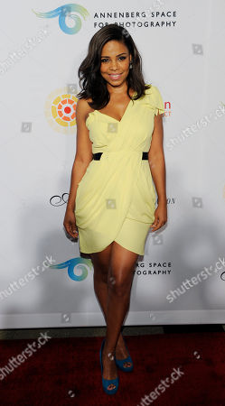 """Stock Photo of Sanaa Lathan Actress Sanaa Lathan poses at a cocktail party featuring the world premiere of the celebrity photo series, """"REACH: 24 portraits by Randall Slavin to benefit the Charlize Theron Africa Outreach Project,"""", at The Annenberg Space for Photography in Los Angeles. The CTAOP is committed to reducing the prevalence of HIV/AIDS and sexual violence among African youth"""