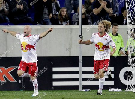 Luke Rodgers, Stephen Keel New York Red Bulls forward Luke Rodgers, left, of England, celebrates his goal with teammate Stephen Keel during the first half of an MLS soccer match against against the Los Angeles Galaxy, in Harrison, N.J