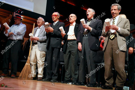Rich Roberts, Roy Glauber, Dudley Herschbach, Lou Ignaro, Peter Diamond, Eric Maskin Nobel Laureates, from left, Rich Roberts (Medicine, 2005), Roy Glauber (Physics, 2005), Dudley Herschbach (Chemistry, 1986), Lou Ignaro (Medicine, 1998), Peter Diamond (Economics, 2010) and Eric Maskin (Economics, 2007) perform in a sing-along during the 21st annual Ig Nobel Awards ceremony at Harvard University in Cambridge, Mass