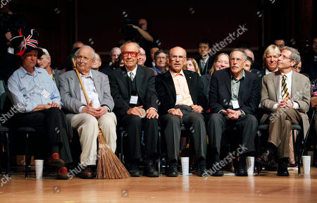 Rich Roberts, Roy Glauber, Dudley Herschbach, Lou Ignaro, Peter Diamond, Eric Maskin Nobel Laureates, from left, Rich Roberts (Medicine, 2005), Roy Glauber (Physics, 2005), Dudley Herschbach (Chemistry, 1986), Lou Ignaro (Medicine, 1998), Peter Diamond (Economics, 2010) and Eric Maskin (Economics, 2007) sit on stage during the 21st annual Ig Nobel Awards ceremony at Harvard University in Cambridge, Mass
