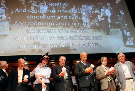 Stock Picture of Rich Roberts, Roy Glauber, Dudley Herschbach, Lou Ignaro, Peter Diamond, Eric Maskin Nobel Laureates, from right, Roy Glauber (Physics, 2005), Eric Maskin (Economics, 2007), Dudley Herschbach (Chemistry, 1986), Peter Diamond (Economics, 2010), Rich Roberts (Medicine, 2005) and Lou Ignaro (Medicine, 1998) sing along during the 21st annual Ig Nobel Awards ceremony at Harvard University in Cambridge, Mass