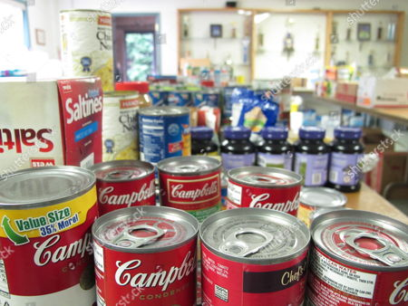 Food donated for flood victims sits on tables at the Plunketts Creek Township fire hall near Williamsport, Pa. Floodwaters following the remnants of Tropical Storm Lee inundated the community