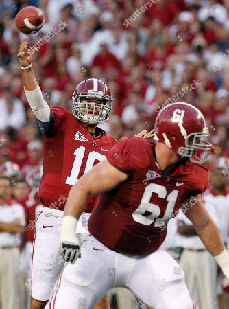 AJ McCarron, Anthony Steen Alabama quarterback AJ McCarron (10) looks for a receiver as offensive linesman Anthony Steen (61) blocks in the first half of an NCAA college football game at Bryant-Denny Stadium in Tuscaloosa, Ala. Second-ranked Alabama are slated to host No. 1 LSU on