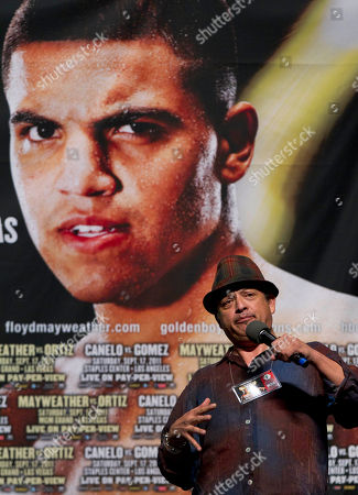 Paul Rodriguez Comedian Paul Rodriguez keeps the crowd entertained while waiting for Floyd Mayweather and Victor Ortiz to arrive for their weigh-in, in Las Vegas. Mayweather is to challenge Ortiz for the WBC title on Saturday