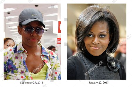 Stock Photo of Michelle Obama This combo image shows two images of First Lady Michelle Obama in 2011. (Left) First Lady Michelle Obama, wearing a hat and sunglasses, walks out of a Target department store in Alexandria, Va., after doing some shopping. (AP Photo/Charles Dharapak) (Right) First Lady Michelle Obama attends the funeral Mass for R. Sargent Shriver at Our Lady of Mercy Parish in Potomac, Md., on the outskirts of Washington Saturday, Jan. 22, 2011. Shriver, an in-law of the Kennedys, and the first director of the Peace Corps, died Tuesday. He was 95