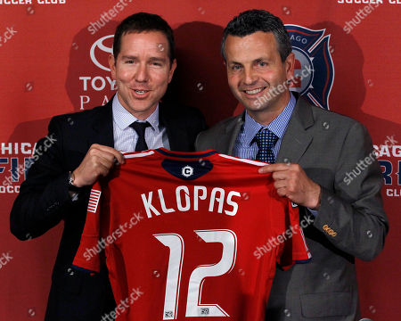 Frank Klopas, Andrew Hauptman Chicago Fire owner Andrew Hauptman, left, poses for photos with Frank Klopas after naming him the new head coach of the soccer team during a news conference, in Bridgeview, Ill