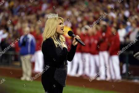 Stock Picture of Teresa Scanlan Miss America Teresa Scanlan sings the National Anthem before baseball's Game 2 of the National League division series with the Philadelphia Phillies and St. Louis Cardinals in Philadelphia