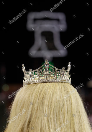 Stock Picture of Teresa Scanlan Miss America Teresa Scanlan with her crown is seen before singing the National Anthem before baseball's Game 2 of the National League division series with the Philadelphia Phillies and St. Louis Cardinals, in Philadelphia