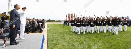 Leon Panetta, James Winnefeld Defense Secretary Leon Panetta and Joint Chiefs Vice Chairman Adm. James Winnefeld Jr., review the troops during a Defense Department ceremony commemorating the National POW/MIA Recognition Day, at the Pentagon