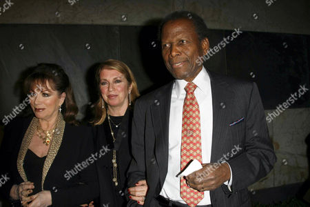 Sidney Poitier, wife Joanna Shimkus and Jackie Collins