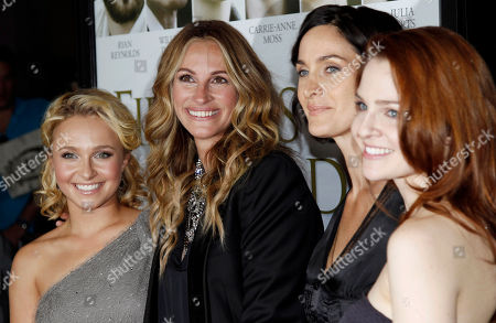 """Hayden Panettiere, Julia Roberts, Carrie-Anne Moss, Shannon Lucio From left, cast members Hayden Panettiere, Julia Roberts, Carrie-Anne Moss, and Shannon Lucio pose together at the premiere of """"Fireflies in the Garden"""" in Los Angeles, . """"Fireflies in the Garden"""" opens in theaters Oct. 14, 2011"""