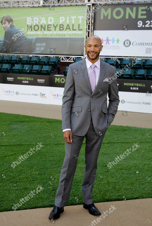 """Stephen Bishop Actor Stephen Bishop arrives at the Paramount Theatre of the Arts for the premiere screening of the movie """"Moneyball"""", in Oakland, Calif. Bishop portrays Oakland Athletics' David Justice in the film"""