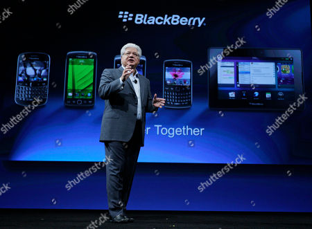 """Stock Photo of Mike Lazaridis Mike Lazaridis, co-CEO of Research in Motion gestures at the end of his keynote address to the BlackBerry DevCon Americas conference in San Francisco, . The co-CEO of BlackBerry maker Research in Motion made only a brief reference to last week's outages as he opened a conference for software programmers in San Francisco. Lazaridis says the outages were """"unfortunate."""" He said that the company restored service as quickly as possible and is working on figuring out the causes and """"making this right,"""" for BlackBerry users worldwide"""