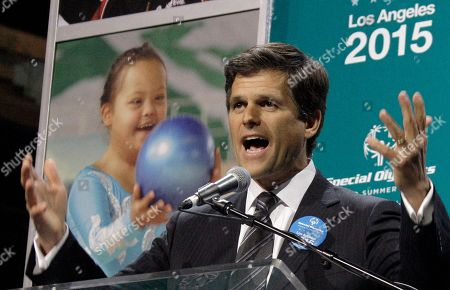 Timothy Shriver, chairman of Special Olympics International and son of founder Eunice Kennedy Shriver, speaks at a news conference, in Los Angeles, to announce that Los Angeles will host the 2015 Special Olympics World Summer Games. Thousands of athletes with intellectual disabilities, coaches and volunteers will participate in games at sports venues throughout Southern California.from all over the world