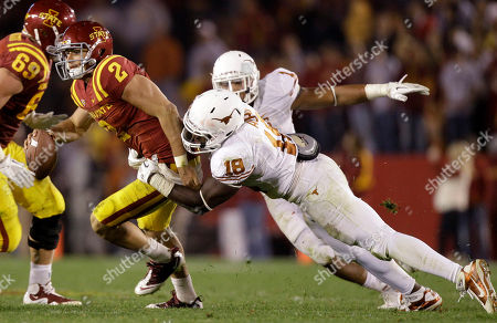 Steele Jantz, Emmanuel Acho Iowa State quarterback Steele Jantz (2) is sacked by Texas linebacker Emmanuel Acho (18) during the second half of an NCAA college football game, in Ames, Iowa. Texas won 37-14