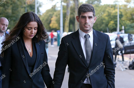 Ched Evans and his partner Natasha Massey leaving Cardiff Crown Court at the end of the day on the fourth day of the second week of his retrial for rape