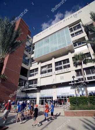 The west exterior of Ben Hill Griffin Stadium at Florida Field, the home of the University of Florida football team, is seen before an NCAA college football game against Florida Atlantic, in Gainesville, Fla