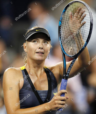 Maria Sharapova Maria Sharapova, of Russia, thanks the crowd after beating Anastasiya Yakimova, of Belarus, during the U.S. Open tennis tournament in New York, early morning . Sharapova won 6-1, 6-1