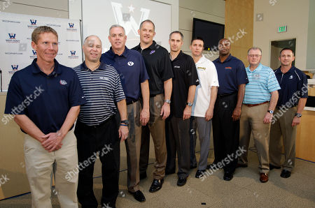 Eric Reveno, Marty Wilson, Bill Grier, Mark Few, Dave Rose, Rex Walters, Kerry Keating, Max Good, Randy Bennett West Coast Conference NCAA college basketball head coaches, from left to right, Gonzaga's Mark Few, Saint Mary's Randy Bennett, BYU's Dave Rose, Portland's Eric Reveno, Santa Clara's Kerry Keating, San Francisco's Rex Walters, Pepperdine's Marty Wilson, Loyola Marymount's Max Good, and San Diego's Bill Grier pose during a WCC Basketball Tip-Off event at YouTube headquarters in San Bruno, Calif