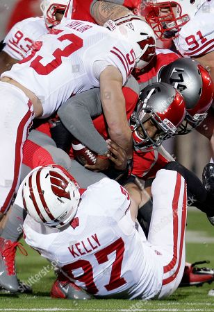 Braxton Miller, Brendan Kelly Ohio State quarterback Braxton Miller (5) is sacked for a two yard loss by Wisconsin defensive end Brendan Kelly (97) in the first quarter of an NCAA college football game, in Columbus, Ohio