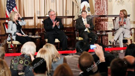 Hillary Rodham Clinton, Josette Sheeran, Howard Buffett, Bill Gates From left, Secretary of State Hillary Rodham Clinton, World Food Program's 2011 George McGovern Leadership Award recipients Bill Gates, and Howard Buffett, and WFP Executive Director Josette Sheeran participate in a panel discussion during a ceremony honoring Gates and Buffet at the State Department in Washington