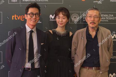 Stock Image of Hong Sang-soo, Kim Joo-hyuk, Lee You-young poses