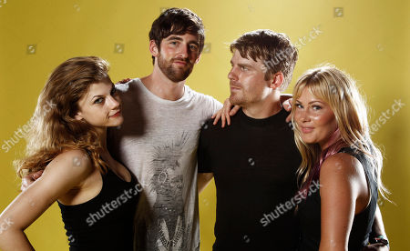 "Rebekah Brandes, Tyler Dawson, Evan Glodell, Jessie Wiseman From left, actress Rebekah Brandes, actor Tyler Dawson, actor and director Evan Glodell, and actress Jessie Wiseman, from ""Bellflower"" poses for a portrait at the LMT Music Lodge during Comic Con in San Diego"