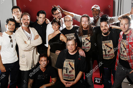 "James Duvall, Neal Fischer, Jeff Fahey, David Dastmalchian, Noah Hathaway, Cortney Palm, Kern Saxton, Suren Seron, Mark Hamill, Andy Mackenzie, Tony Todd, Destin Pfaff, Ted Stryker From left, James Duvall, Neal Fischer, Jeff Fahey, David Dastmalchian, Noah Hathaway, Cortney Palm, Kern Saxton, Suren Seron, Mark Hamill, Andy Mackenzie, Tony Todd, Destin Pfaff, Ted Stryker, from ""Sushi Girl"", pose for a portrait at the LMT Music Lodge during Comic Con in San Diego"