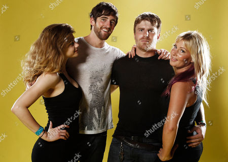 "Stock Photo of Rebekah Brandes, Tyler Dawson, Evan Glodell, Jessie Wiseman From left, actress Rebekah Brandes, actor Tyler Dawson, actor and director Evan Glodell, and actress Jessie Wiseman, from ""Bellflower"" poses for a portrait at the LMT Music Lodge during Comic Con in San Diego"