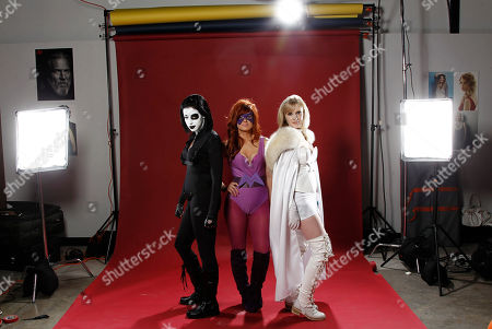 Carmen Axle, Jessica Cryderman, Tamara Klimek Comic Con attendees Carmen Axle, left, Jessica Cryderman, center, and Tamara Klimek pose for a portrait dressed as Domino, Medusa, and Emma Frost at the LMT Music Lodge during Comic Con in San Diego