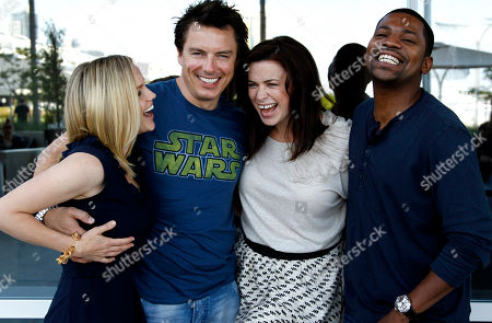 "Stock Picture of Alexa Havins, John Barrowman, Eve Myles, Mekhi Phifer From left, cast members Alexa Havins, John Barrowman, Eve Myles, and Mekhi Phifer, from the Starz series ""Torchwood: Miracle Day"", pose for a portrait during Comic Con in San Diego"
