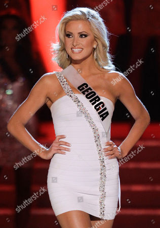 Stock Picture of Kaylin Reque Kaylin Reque, Miss Georgia, is introduced as one of the 16 quarterfinalists during the Miss USA pageant, in Las Vegas
