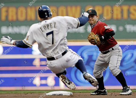 Felipe Lopez, Jose Altuve Houston Astros second baseman Jose Altuve, right, turns a double play as Milwaukee Brewers' Felipe Lopez (7) slides into second during the second inning of a baseball game, in Milwaukee. Casey McGehee was out at first