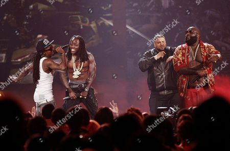Lil Wayne, Ace Hood, DJ Khaled, Rick Ross From left, Lil Wayne, Ace Hood, DJ Khaled, and Rick Ross perform at the BET Awards, in Los Angeles