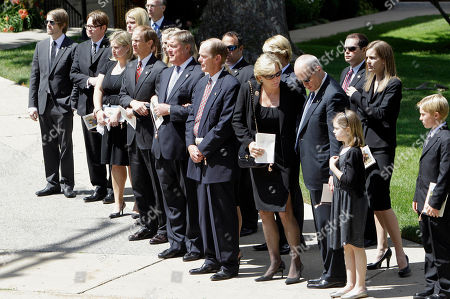Betty Ford, Mike Ford, Jack Ford, Steve Ford, Susan Ford Bales Ford family members watch as the casket carrying former First Lady Betty Ford is placed in the waiting hearse at the Grace Episcopal Church in Grand Rapids, Mich