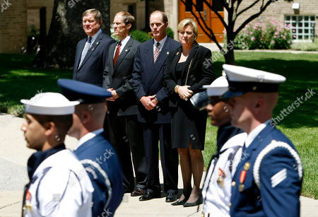 Jack Ford, left, Mike Ford, Steve Ford and Susan Ford Bales Members of the Ford family, from left, Jack Ford, Mike Ford, Steve Ford and Susan Ford Bales, watch as members of the armed forces prepare to carry the casket bearing the body of former first lady Betty Ford into Grace Episcopal Church in Grand Rapids, Mich