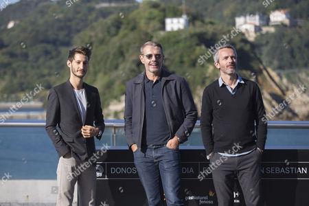 Jerome Salle, Lambert Wilson, Pierre Niney poses