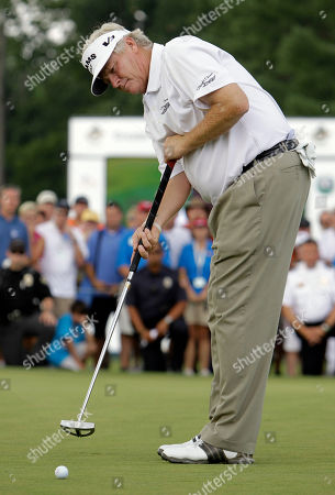 Mark Wiebe Mark Wiebe putts on the 18th hole during sudden death of the Greater Hickory Classic Champions Tour golf tournament at Rock Barn in Conover, N.C., . Play was suspended after one hole of sudden death due to weather