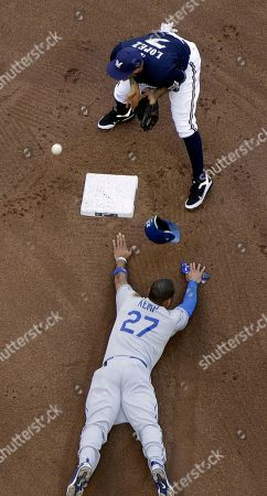 Stock Picture of Matt Kemp, Felipe Lopez Los Angeles Dodgers' Matt Kemp (27) steals second with Milwaukee Brewers' Felipe Lopez (7) covering during the eighth inning of a baseball game, in Milwaukee. The Dodgers won 5-1