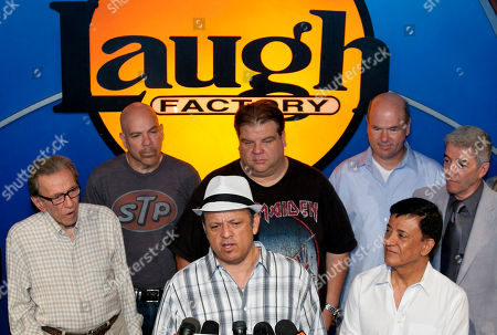 Norm Crosby, Jason Stuart, Paul Rodriguez, Angelo Tsarouchas, Larry Miller, Jamie Masada, Tom Dreesen Comedian Paul Rodriguez, at podium, expresses the comedians support for Jerry Lewis to be reinstated as host of the annual Muscular Dystrophy Association, MDA Telethon, at the Laugh Factory in Los Angeles, . Comedians include from left in front row: Norm Crosby, Rodriguez, Jamie Masada. In the background, from left: Jason Stuart, Angelo Tsarouchas, Larry Miller and Tom Dreesen